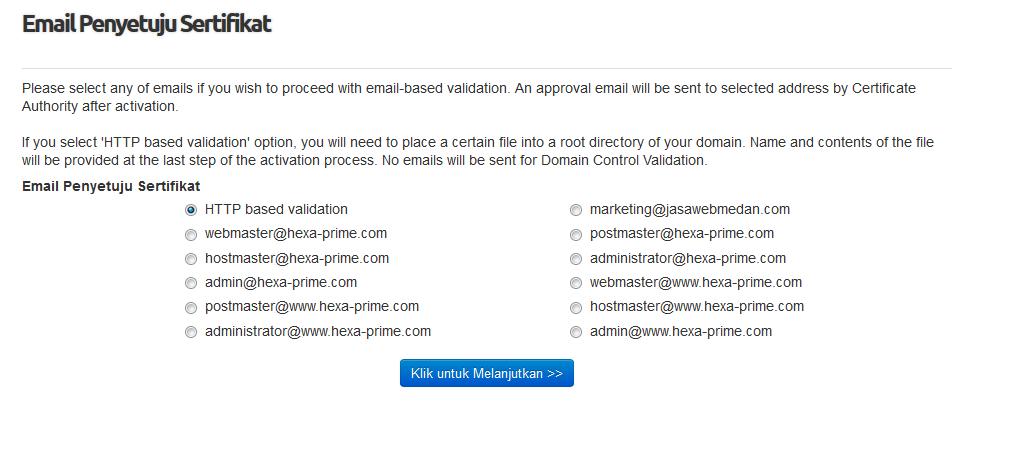 email persetujuan SSL